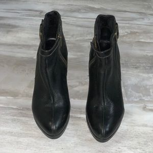 Black leather heeled booties. Size 7 1/2 women.